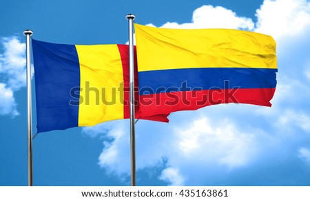 Romania flag with Colombia flag, 3D rendering