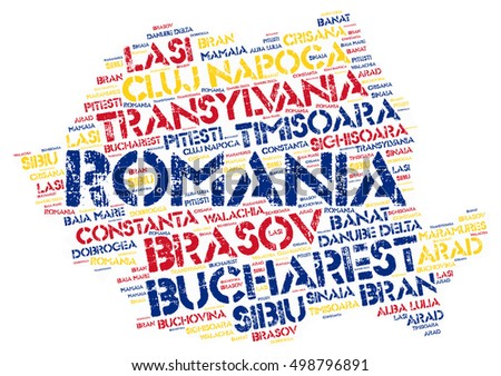 Romania map silhouette word cloud with most popular travel destinations