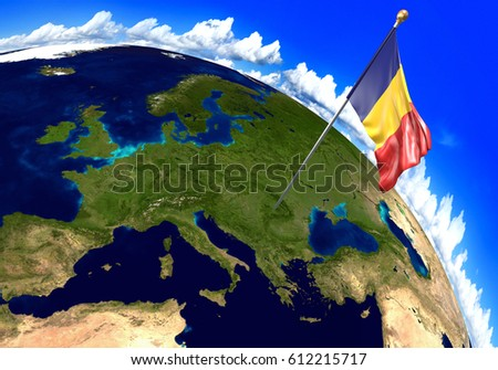 Romania national flag marking country location stock illustration romania national flag marking the country location on world map 3d rendering parts of gumiabroncs Choice Image