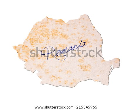 Romania - Old paper with handwriting, blue ink - stock photo