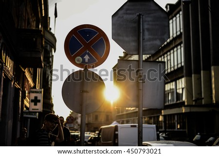 Romania, Oradea, Bihor CIRCA June 2016 Street sunset throw road signs