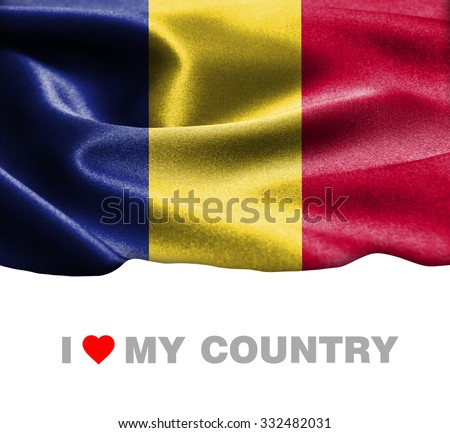 Romania waving flag with Text I Love My Country - stock photo