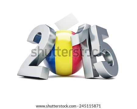 Romanian constitutional referendum 2015 on a white background   - stock photo