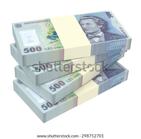 Romanian currency isolated on white background. Computer generated 3D photo rendering. - stock photo