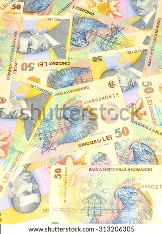 Romanian currency (lei) background - stock photo
