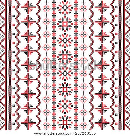 Romanian Embroideries wallpaper pattern - stock photo