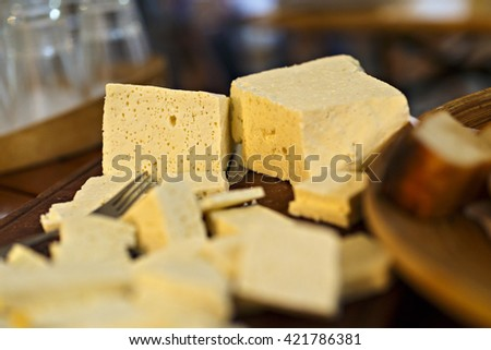 Romanian traditional cheese platter with cheese