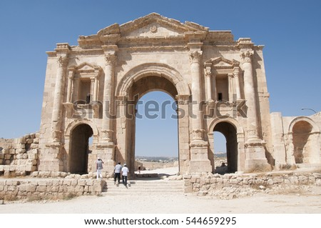 Romans ruins - Ancient Roman city of Jerash of Antiquity , modern Jerash, Jordan