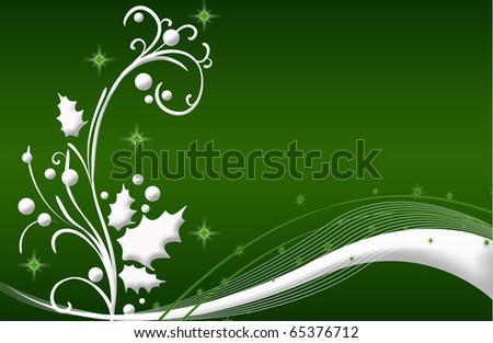 romantic abstract Christmas flower Illustration green white - stock photo