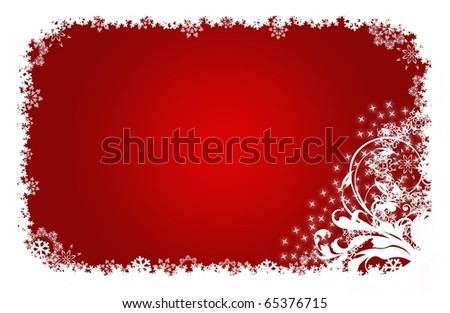 romantic abstract Christmas flower Illustration red white - stock photo