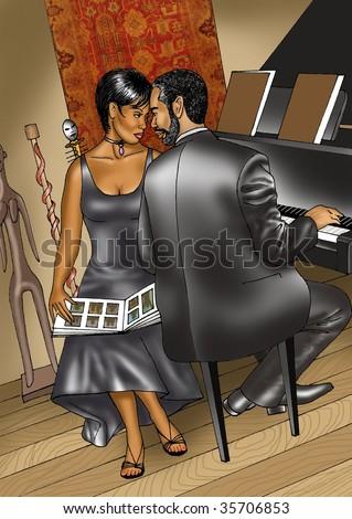 Romantic African American Couple Stock Illustration