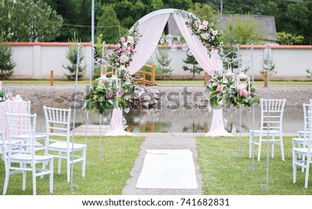 Romantic delicate decoration wedding marriage ceremony stock photo romantic and delicate decoration for wedding marriage ceremony in the open air junglespirit Image collections