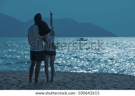Romantic Asian Couple on the beach