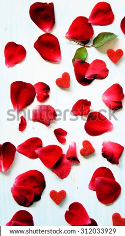 romantic background of rose petals - stock photo