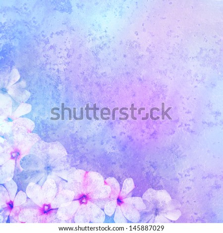 romantic background with floral decoration - patina texture - stock photo