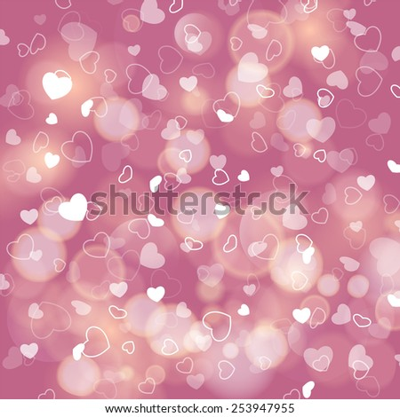 Romantic background with hearts and bokeh lights. - stock photo