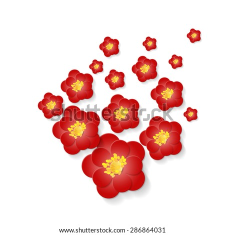 Romantic background with  red paper flowers volumetric composition . - stock photo