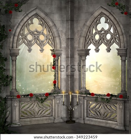 Romantic background with red roses  - stock photo