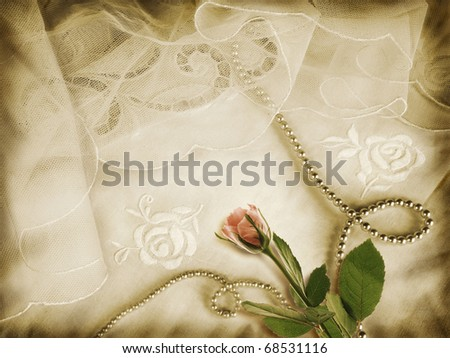 Romantic background with rose, pearls and vintage veils - stock photo