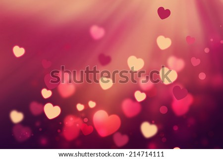 romantic background with shining hearts - stock photo