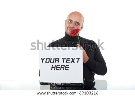 Romantic bald man with red flower find his love in an online dating agency - stock photo