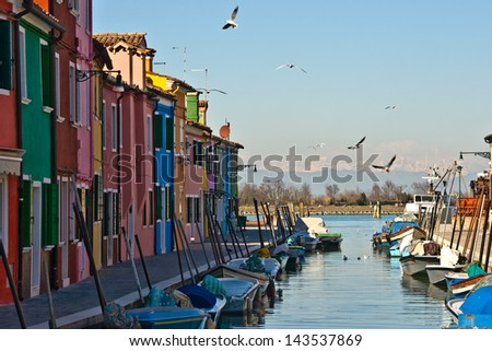 Romantic bay with colorful houses on the island of Burano, Venice, Italy - stock photo