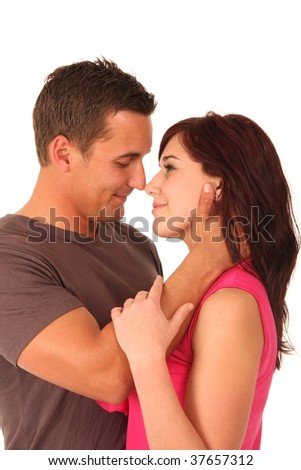 Romantic beautiful young couple embracing each other - stock photo