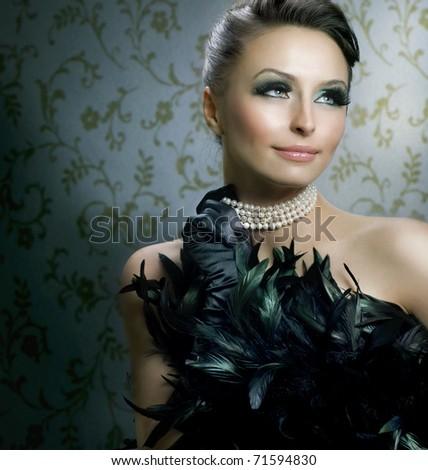 Romantic Beauty Portrait.Beautiful Luxury Girl - stock photo