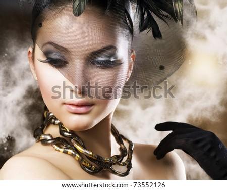 Romantic Beauty Portrait . Retro style - stock photo