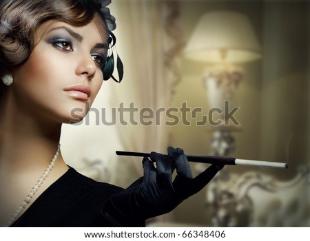 Romantic Beauty.Retro Style,Luxury interior - stock photo