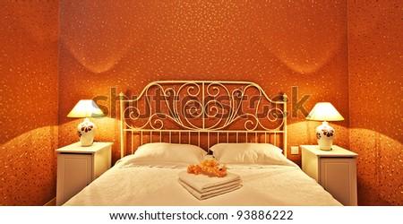Romantic bedroom luxury interior design with warm light - stock photo