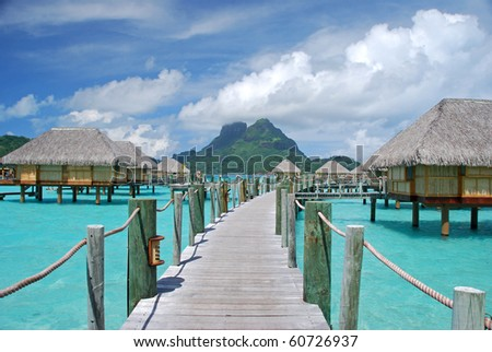 romantic bora bora - stock photo
