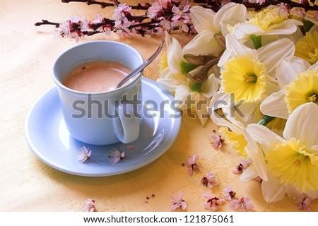 Romantic breakfast coffe - stock photo