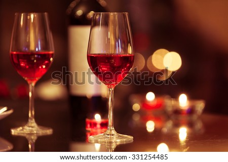 Romantic candle light dinner.  - stock photo