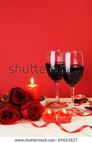 Romantic Candlelight Dinner for Two Lovers Concept Vertical - stock photo