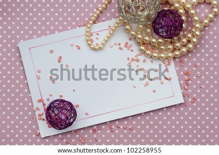 romantic card background with pearls and sprinkles - stock photo