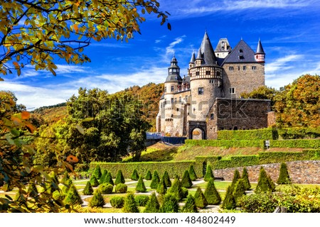 Romantic castle Buerresheim in autumn colours. Mayen, Germany