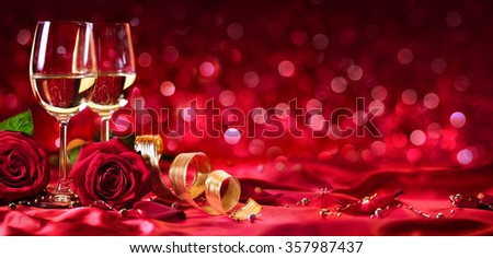 romantic celebration of valentines day with wine and roses - Valentines Day Wine