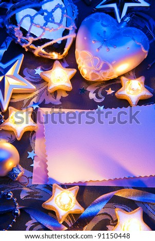 romantic christmas greeting card design with paper note and christmas decoration