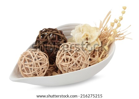 Romantic composition dried flower in ceramic plate on white background  - stock photo