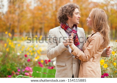 Romantic couple at fall, having a date