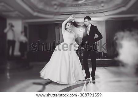 romantic couple dancing on their wedding - stock photo