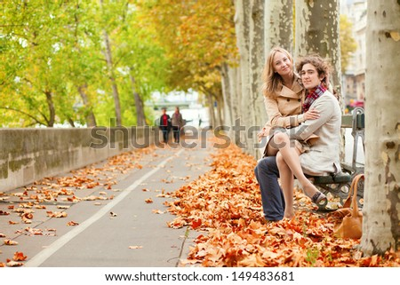 Romantic couple dating at fall