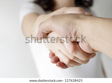 romantic couple holding hands - stock photo