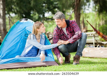 Romantic couple holding hands while setting up tent in park - stock photo