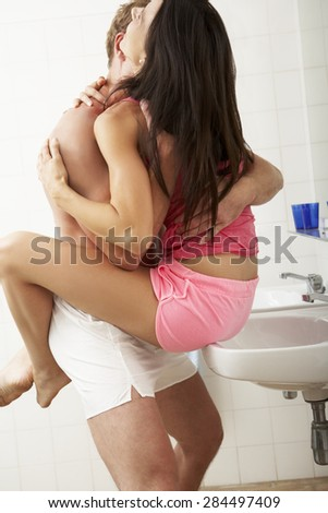 Romantic Couple In Bathroom - stock photo