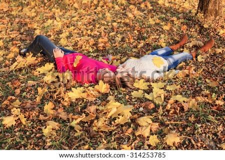 romantic couple in the autumn park - stock photo