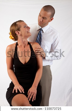 Romantic couple, man and woman looking deeply into each others eyes - stock photo