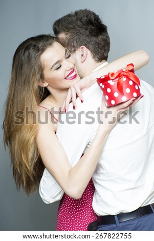 Romantic couple outdoor standing back to back, horizontal photo - stock photo