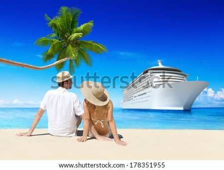 Romantic Couple Relaxing at Beach with 3D Cruise Ship - stock photo